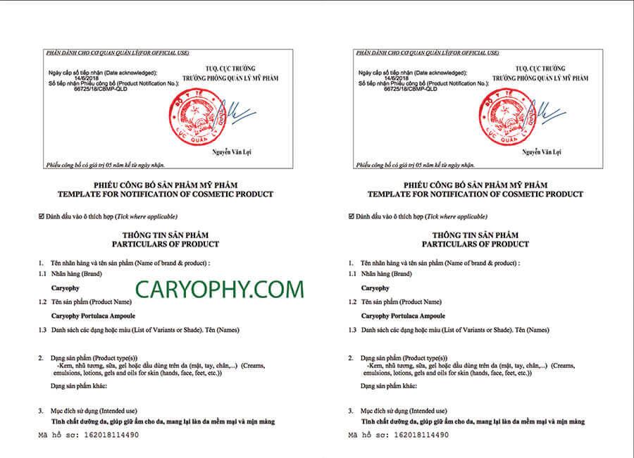 Giấy chứng nhận Caryophy